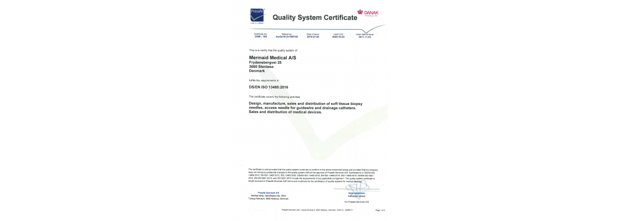 Quality System Certificate for Mermaid Medical A/S